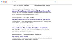 Google Search Jose Mier Screenshot