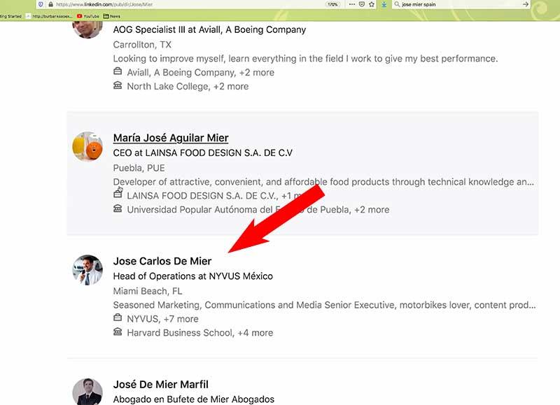 Screen shot of Jose Mier LinkedIn Search