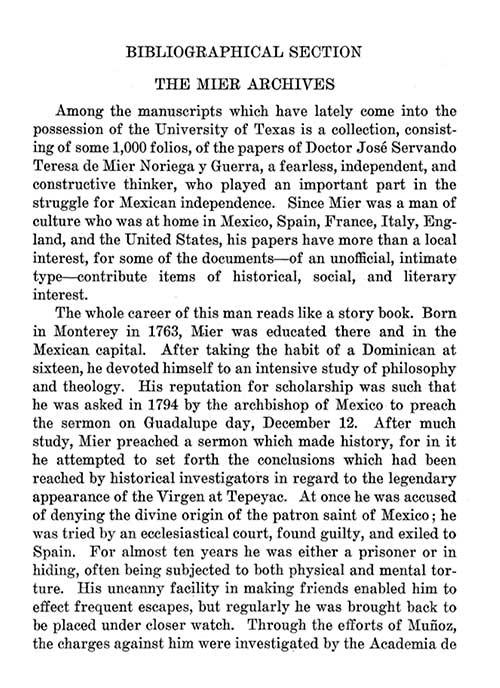 Jose Mier Noriega y Guerra Biography 1932