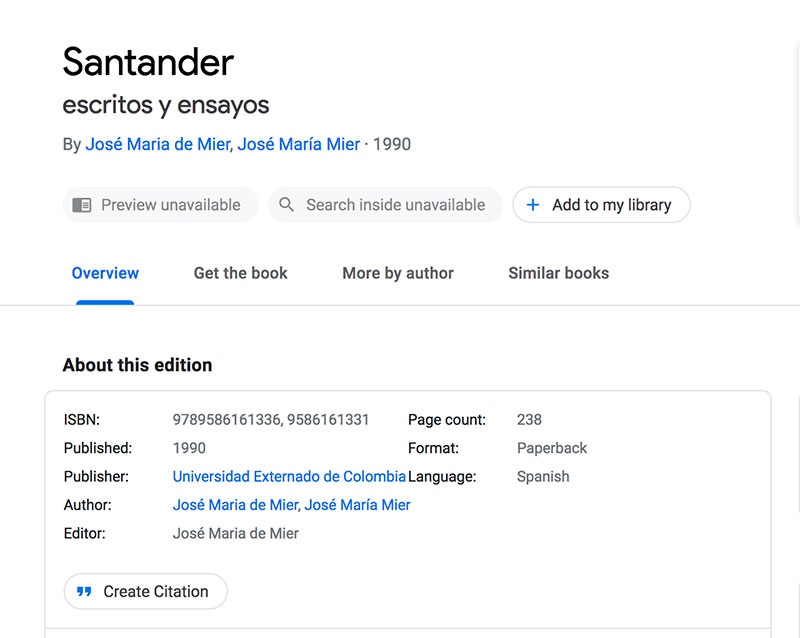 Jose Mier book on Santander Colombia