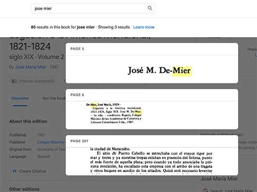 Jose Maria de Mier reference in Google Books