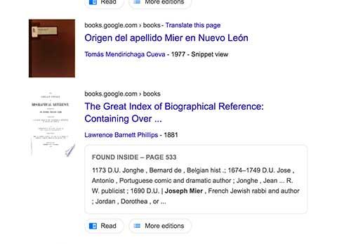 Book: origins of the Mier surname in Nuevo Leon