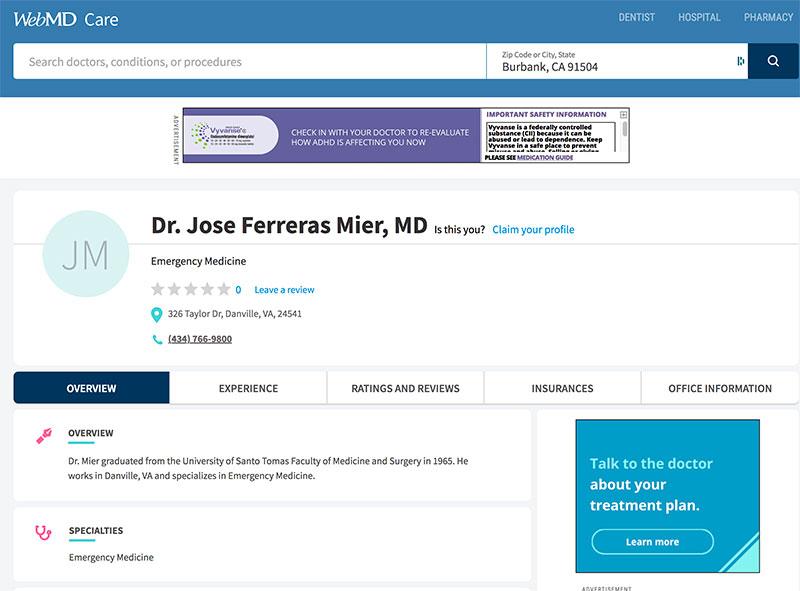 jose f. mier doctor website