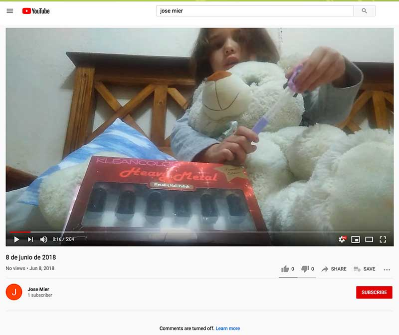 jose mier youtube channel with video