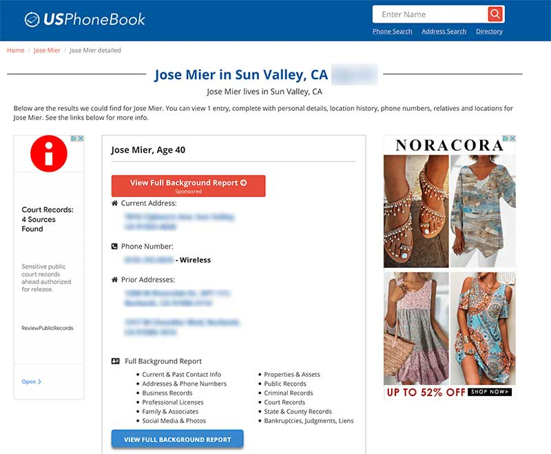 Jose Mier in Sun Valley, CA on US Phone Book