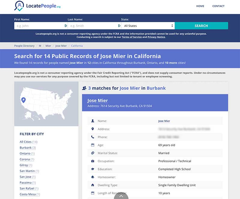 Jose Mier search on LocatePeople